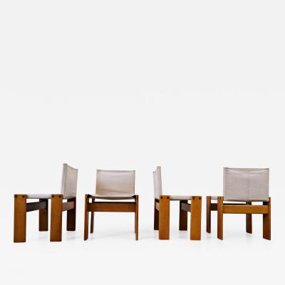Carlo Scarpa Afra Tobia Scarpa Set Of 4 Monk Dining Chairs With Canvas