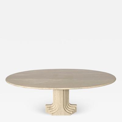 Carlo Scarpa Carlo Scarpa Samo Oval Travertine Pedestal Dining Table