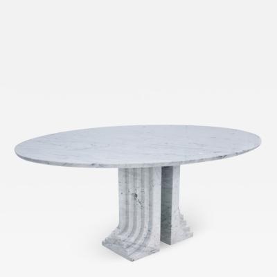 Carlo Scarpa Carlo Scarpa for Simon Modern Carrara Marble Oval Samo Italian Table 1970s