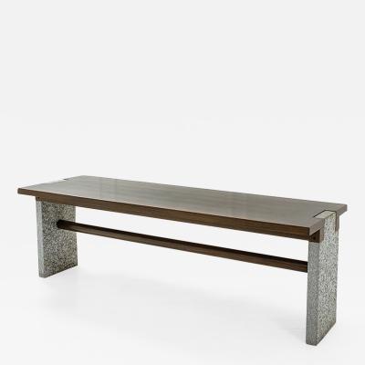 Carlo Scarpa Carlo Scarpa rare table console in stone with oak top Prod Simon 1972