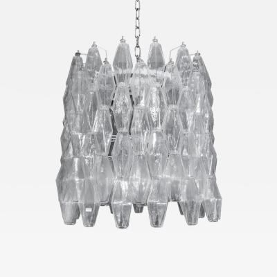 Carlo Scarpa DRUM SHAPED CLEAR POLIEDRI BLOWN MURANO GLASS CHANDELIER