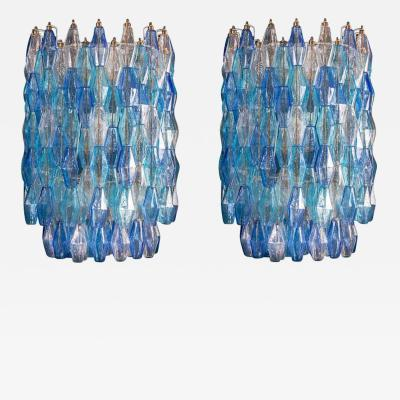 Carlo Scarpa Great Pair of Murano Glass Sapphire Colored Poliedri Chandelier Style C Scarpa