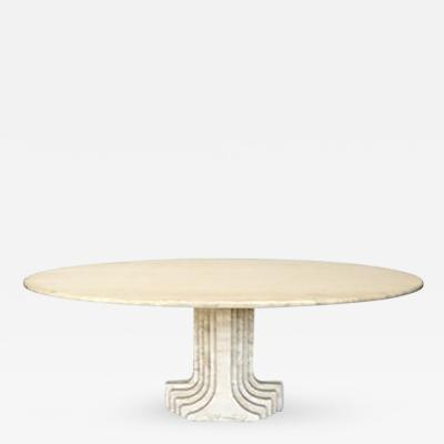 Carlo Scarpa Italian Travertine Dining Table by Carlo Scarpa model Samo