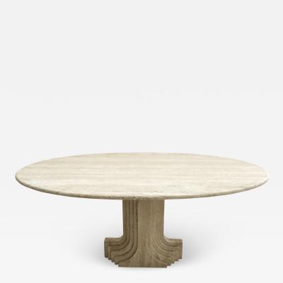 Carlo Scarpa Italian Travertine Oval Top Samo Fluted Carved Base Dining Table Carlo Scarpa