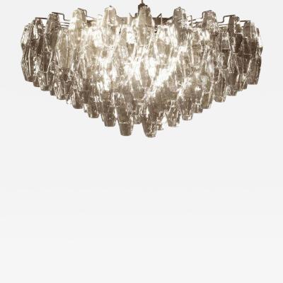 Carlo Scarpa Large Grey Poliedri Murano Glass Ceiling Light Carlo Scarpa Style