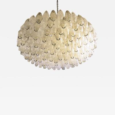 Carlo Scarpa Large Venini Polyhedron Clear Beige Chandelier Mid Century Modern