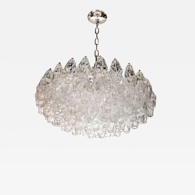 Carlo Scarpa Modernist Handblown Translucent Murano Glass Polyhedral Chandelier