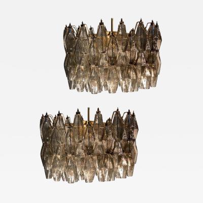 Carlo Scarpa Pair of Grey Poliedri Murano Glass Chandeliers Carlo Scarpa Style