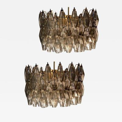 Carlo Scarpa Pair of Grey Poliedri Murano Glass Chandeliers in Carlo Scarpa Style