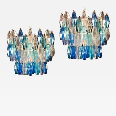 Carlo Scarpa Pair of Murano Glass Sapphire Colored Poliedri Chandelier in the Style C Scarpa