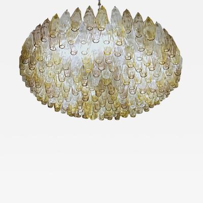 Carlo Scarpa Poliedri Chandelier Murano Carlo Scarpa Venini Clear Amber Amethyst Glass 1980s