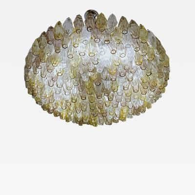 Carlo Scarpa Poliedri Chandelier Murano Carlo Scarpa Venini Clear Amber Amethyst Glass