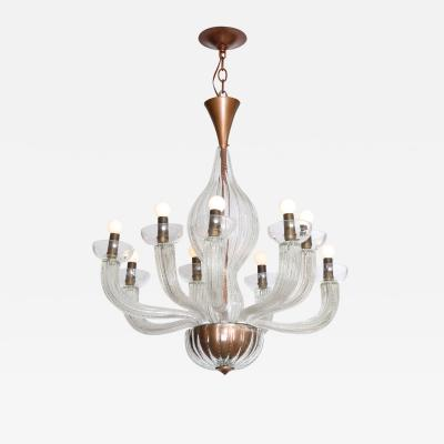 Carlo Scarpa Rare 9 Arm Chandelier by Carlo Scarpa for Venini