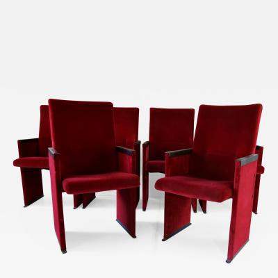 Carlo Scarpa Set of 12 Red Velvet Carlo Scarpa Theatre Chairs from the Auditorium Roma 1960