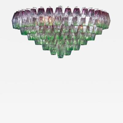 Carlo Scarpa Striking Poliedri Pink and Green Murano Glass Chandelier 1970