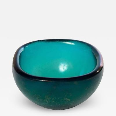 Carlo Scarpa Turquoise Glass Bowl Corroso Attributed Carlo Scarpa