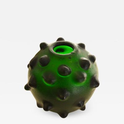 Carlo Scarpa Vase designed by Carlo Scarpa for Venini in green corroded Glass
