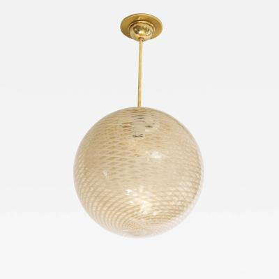 Carlo Scarpa Venini 1930s reticello glass globe chandelier