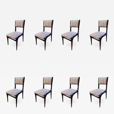 Carlo de Carli Carlo de Carli Chairs Set of 8 Reupholstered with Vintage Fabric Italy