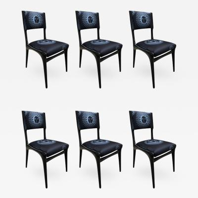 Carlo de Carli Carlo de Carli Chairs Set of Six Reupholstery with Fabric by Fornasetti