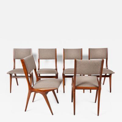 Carlo de Carli Carlo de Carli Mod 158 Set of Six Dining Chairs Italy 1953