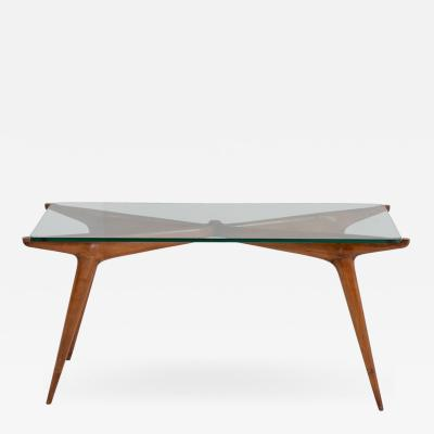 Carlo de Carli Carlo di Carli Mid Century Smoking Table in Glass and Wood by Carlo de Carli