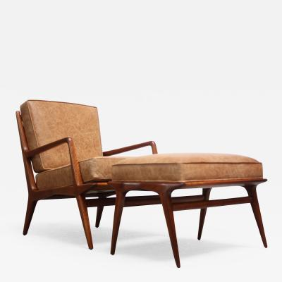 Carlo de Carli Italian Modern Carlo de Carli Lounge Chair and Ottoman in Walnut and Leather