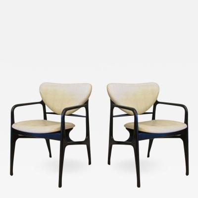 Carlo de Carli Italian Modern Ebonized and Faux Snake Skin Upholstered Arm Chairs