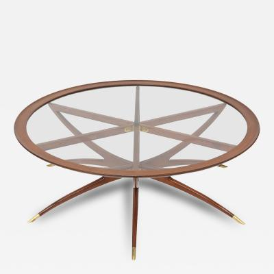 Carlo de Carli Italian Modern Mahogany Brass and Glass Low Table Carlo de Carli