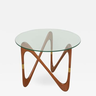 Carlo de Carli Italian Modern Walnut and Brass Glass top Tables