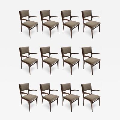 Carlo de Carli Set of 12 Carlo de Carli 1950s Velvet Dining Chairs with Arms