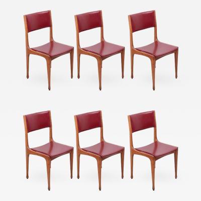 Carlo de Carli Set of 6 Carlo De Carli Mod 693 Chairs for Cassina in Dark Red Faux Leather