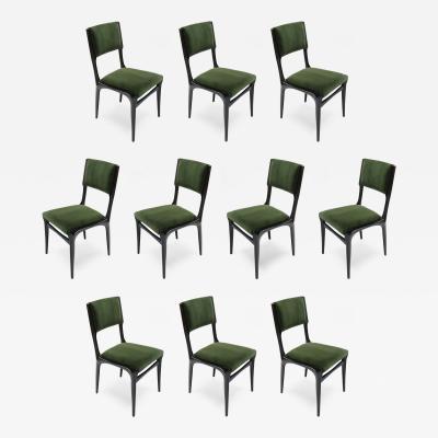 Carlo de Carli Set of Ten 1950s Carlo de Carli Ebonized Dining Chairs