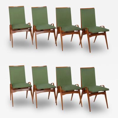 Carlo di Carli Carlo de Carli Set of Eight Sculptural Dining Chairs Italy 1950s