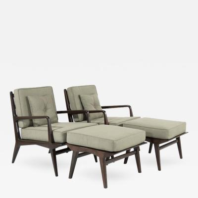 Carlo di Carli Pair of Carlo di Carli Lounge Chairs Ottomans for M Singer Sons 1950s