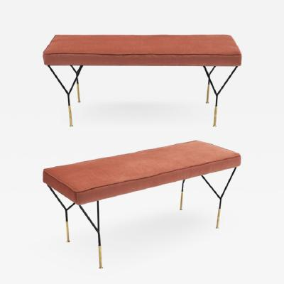 Carlo di Carli Pair of Pink Vintage Mid Century Benches by Carlo di Carli