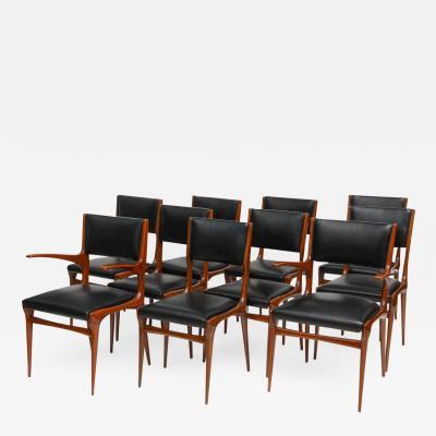 Carlo di Carli Set of 12 Carlo di Carli Walnut Dining Chairs Italy