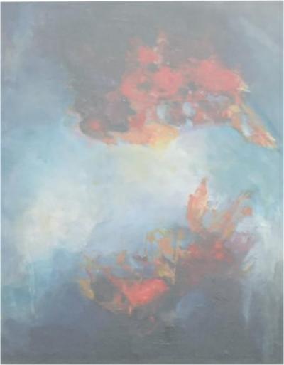 Carlos Merida GUATEMALA Abstract Oil Painting Rosewood Frame