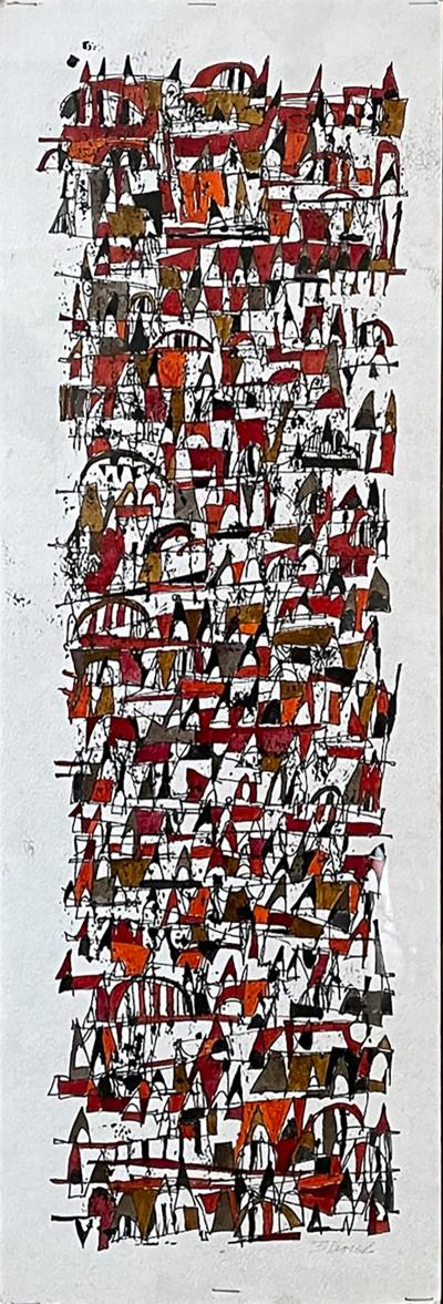 Carlos Merida Red Abstract Art Ink on Paper signed Style Carlos Merida Modern MEXICO 1970s