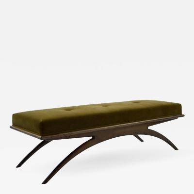 Carlos Solano Granda Convex Bench in Olive Mohair