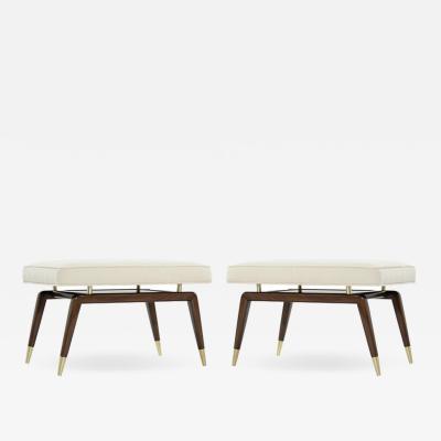 Carlos Solano Granda Gio Ponti Style Walnut Benches