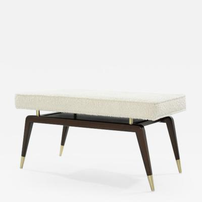 Carlos Solano Granda Gio Walnut Bench in Boucl