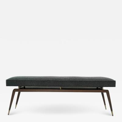 Carlos Solano Granda Gio Walnut Bench in Charcoal Boucl
