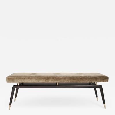 Carlos Solano Granda Gio Walnut Bench in Linen Velvet
