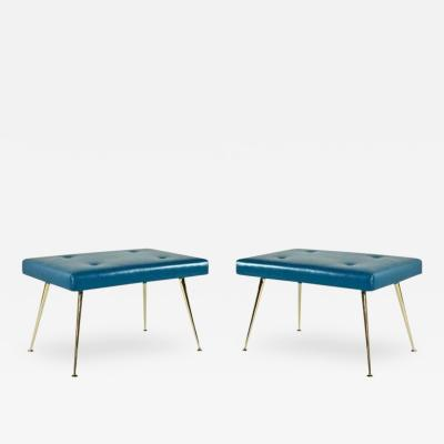 Carlos Solano Granda Pair of Blue Leather and Brass Benches