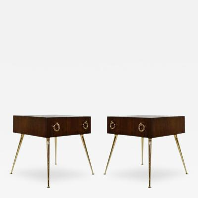 Carlos Solano Granda Sculptural Walnut and Brass Side Tables