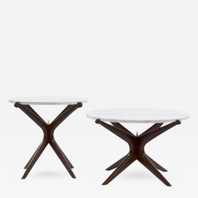 Carlos Solano Granda Set of Complementing Walnut Gazelle Coffee Tables