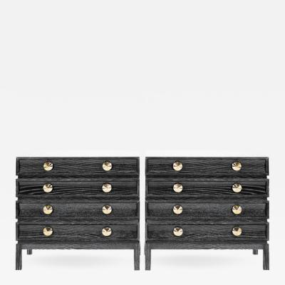 Carlos Solano Granda Stacked Bedside Tables in Black Ceruse