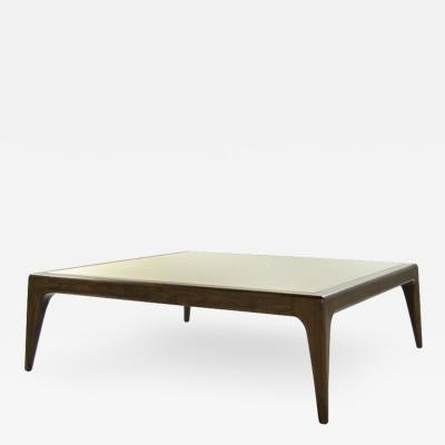 Carlos Solano Granda Stamford Modern Sculptural Walnut Coffee Table Inlaid Brass Top