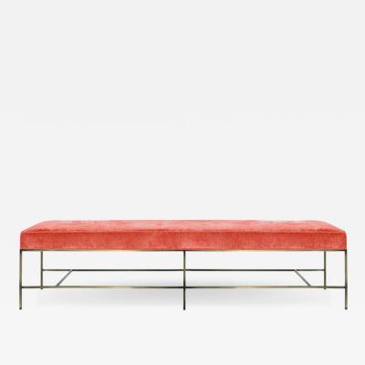 Carlos Solano Granda Stamford Moderns Architectural Bronze Bench in Coral Chenille